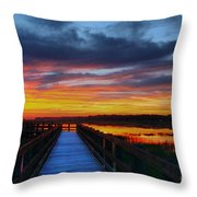 Dawn Skies At The Fishing Pier Throw Pillow