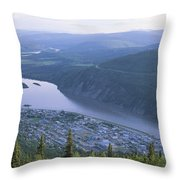 Dawson City And The Yukon River Throw Pillow