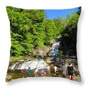 Day At Kent Falls State Park Throw Pillow