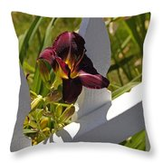 Day Lily And White Fence II Throw Pillow