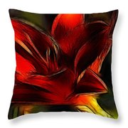 Day Lily Fractal Throw Pillow