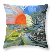 Day Meets Night Throw Pillow