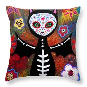 Day Of The Dead Bat Throw Pillow