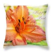 Daylily Greeting Card Birthday Throw Pillow