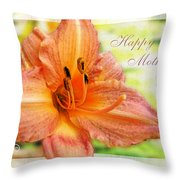 Daylily Greeting Card Mothers Day Throw Pillow