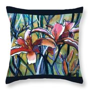 Daylily Stix Throw Pillow by Kathy Braud