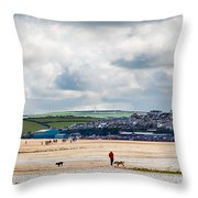 Daymer Bay Beach Landscape In Cornwall Uk Throw Pillow