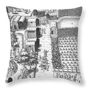 De Bry: Secoton Village Throw Pillow
