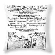 De Re Metallica, Title Page, 16th Throw Pillow by Science Source
