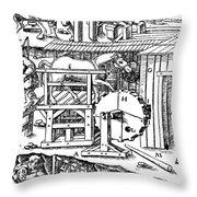 De Re Metallica, Ventilation Of Mines Throw Pillow