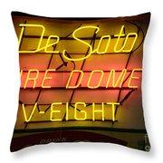 De Soto Fire Dome V Eight Neon Sign Throw Pillow