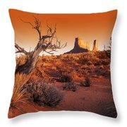 Dead Tree In Desert Monument Valley Throw Pillow