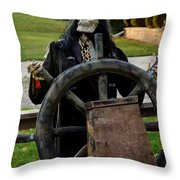 Death Steers The Ship Throw Pillow