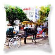 Decatur Street At Jackson Square Throw Pillow by Bill Cannon