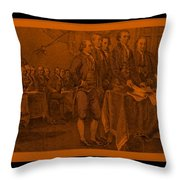 Declaration Of Independence In Orange Throw Pillow