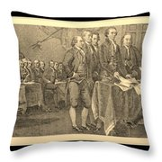 Declaration Of Independence In Sepia Throw Pillow
