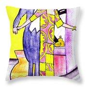 Deco Couple With Vase Throw Pillow