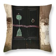 Decorated Door Throw Pillow