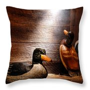 Decoys In Old Hunting Cabin Throw Pillow