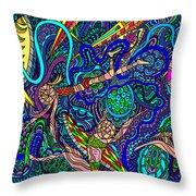 Deep Blue Surfing Throw Pillow