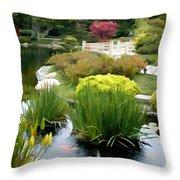 Deep Panorama Of Japanese Garden And Koi Throw Pillow
