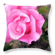 Deep Pink Watercolor Rose Blossom Throw Pillow
