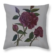 Deep Red Roses Throw Pillow