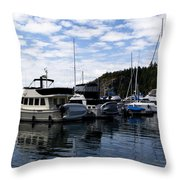 Deer Harbor Blues Throw Pillow