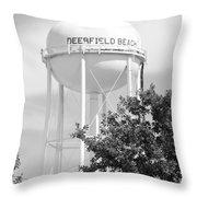 Deerfield Beach Tower In Black And White Throw Pillow