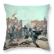 Defending The Fort Throw Pillow by Charles Schreyvogel