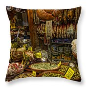 Deli In Palma De Mallorca Spain Throw Pillow by David Smith