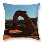 Delicate Arch Under Moonlight Throw Pillow