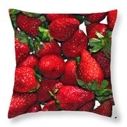 Deliciously Sweet Strawberries Throw Pillow