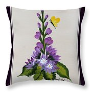 Delphenium And Butterfly Throw Pillow