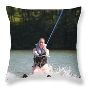 Demi Skiing Throw Pillow