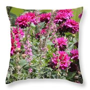 Demure Dahlias Throw Pillow