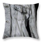 Denim Jacket Throw Pillow by Joana Kruse