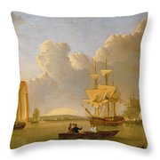 Deptford On Thames With A Distant View Of Greenwich Throw Pillow by John of Hull Ward