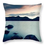 Derwent Water With Catbells At Sunset Throw Pillow