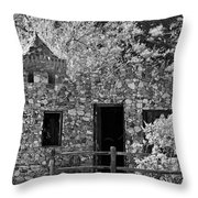 Desert Castle Black And White Throw Pillow