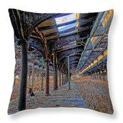 Deserted Railroad Platforms Throw Pillow
