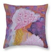 Pink Hat Beauty Throw Pillow