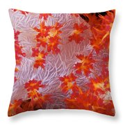 Detailed View Of Soft Coral Revealing Throw Pillow