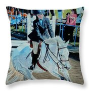 Determination - Horse And Rider - Horseshow Painting Throw Pillow