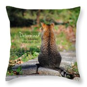 Determined Encouraging Cat Photo Throw Pillow