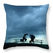 Determined Park Visitors Sit On Picnic Throw Pillow