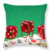 Dice Red Cards Hook 1 B Throw Pillow