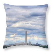 Digital Liquid - Clouds Over Washington Dc Throw Pillow