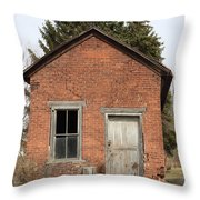 Dilapidated Old Brick Building Throw Pillow by John Stephens