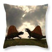 Dimetrodon Fight Over Territory Throw Pillow
